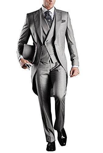 GEORGE BRIDE Herren Anzug 5-Teilig Anzug Sakko,Weste,Anzug Hose,Krawatte,Tasche Platz 005,XL