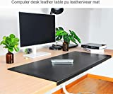 """Non-Slip Soft Leather Surface Office Desk Mouse Mat Pad with Full Grip Fixation Lip Table Blotter Protector 27.55""""x 15.8' Leather Pad Edge-Locked"""