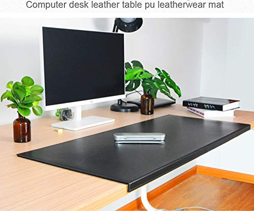 "Non-Slip 31.5""x 15.8' Soft Leather Surface Office Desk Mouse Mat Pad with Full Grip Fixation Lip Table Blotter Protector"