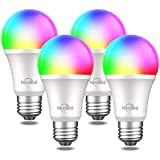 Smart Light Bulbs Works with Alexa Echo Google Home and Siri,NiteBird WiFi RGB Color Changing Dimmable LED Lights Bulbs, A19 E26 8W Warm White 2700k, 75W Equivalent, No Hub Required,4 Pack