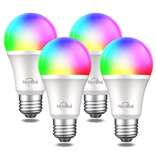 NiteBird Smart Light Bulbs Works with Alexa Echo Google Home and Siri, WiFi Dimmable Color Changing LED Lights Bulbs, A19 E26 8W Warm White 2700k, 75W Equivalent, No Hub Required,4 Pack