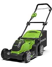 Save on GreenWorks 2504707 Tosaerba a Batteria G40LM41 (Li-Ion 40 V, Larghezza Taglio 41cm, fino a 600m², 2in1 Pacciamare e Rasare, 50 L Cesto Erba, and more