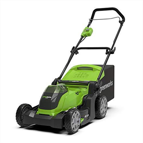 Greenworks Cortacésped con batería G40LM41 (Li-Ion 40V 41cm de ancho de corte, hasta 600m², 2en1 acolchado y corte, 5x ajuste de altura de corte sin batería ni cargador)