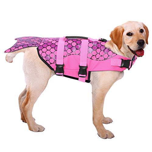 ASENKU Dog Life Jacket Ripstop Pet Floatation Vest Saver Swimsuit Preserver