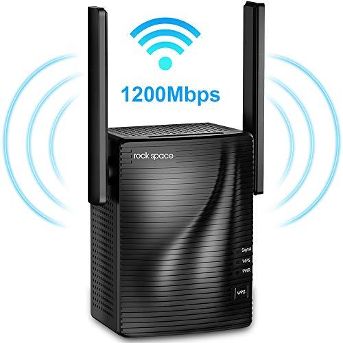rock space Ripetitore di Rete WiFi - Ripetitore WiFi Wireless AC1200 Dual Band 5G&2.4G Estensione WiFi con Porta Gigabit Ethernet Segnale Copertura a 200 ㎡ Adatto Router Fibra e ADSL (Versione 2020)