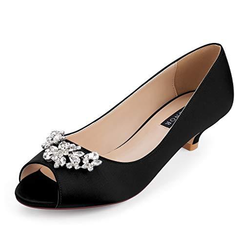 ERIJUNOR E0111 Women Comfort Low Kitten Heels Rhinestones Peep Toe Wedding Evening Party Shoes Dress Pumps Black Size 10.5