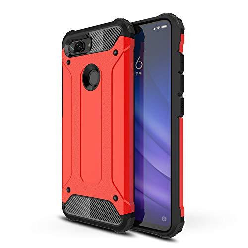Funda Xiaomi Mi 8 Lite, Fundas 2in1 Dual Layer Anti-Shock 360° Full Body Protección TPU Silicona Gel Bumper y Duro PC Armadura Carcasa para Xiaomi Mi 8 Lite, Rojo