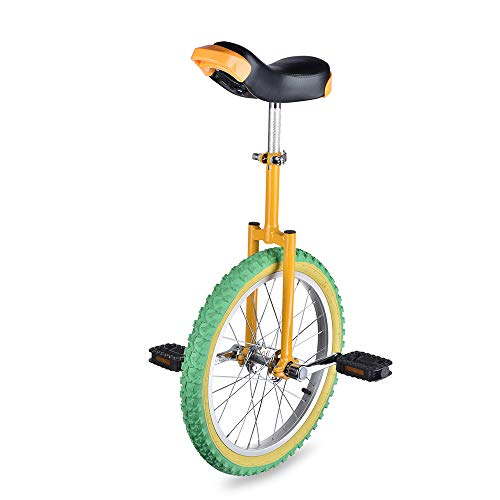 "AW Yellow Green 18"" Inch Wheel Unicycle Leakproof Butyl Tire Wheel Cycling Outdoor Sports Fitness Exercise"