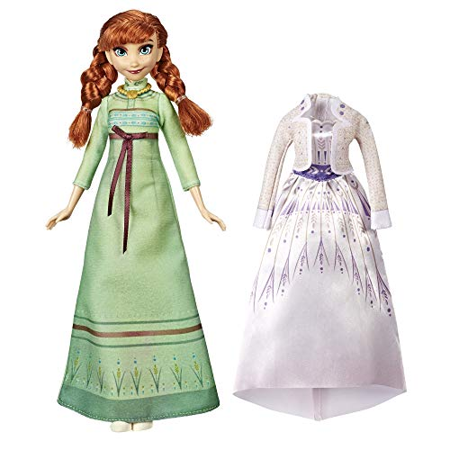 Disney Frozen Arendelle Fashions Anna Fashion Doll With 2 Outfits, Green Nightgown and White Dress Inspired by Disney's Frozen 2 Movie - Toy For Kids 3 Years Old And Up