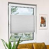Estor plisado N A sin agujeros, estor plisado, fijación de pinza, protección solar interior, estor plegable para ventana y puerta, protección visual y opaco, vidrio tela, gris claro, 35x100cm(BxH)