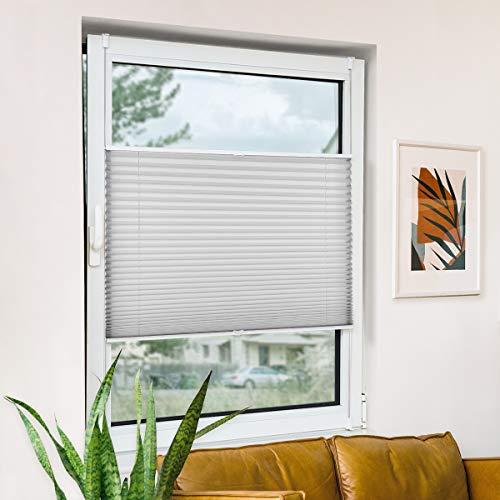 Plisseerollo klemmfix ohne Bohren, Hellgrau 90x200cm(BxH) Springrollo mit Klemmträger, Blendschutz Klemmrollos für Fenster & Balkontür