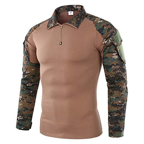 SFYZY Herren Slim Military Tactical Langarmhemd 1/4 Front Zip Camouflage Shirt Outdoor Combat T-Shirt Frosch Anzug Langarm Reiten März Fan Kleidung Training Service Stretchjacke Jacke