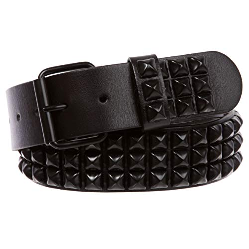 "Three Row of Punk Rock Star Metal Black Studded Leather Belt, 50"""