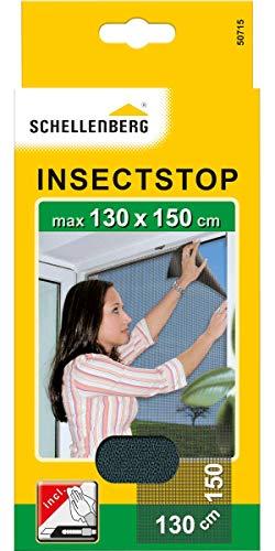 Schellenberg 50715 Fliegengitter für Fenster Insektenschutz und Mückenschutz inkl. Klebestreifen, ohne Bohren, 130 x 150 cm, anthrazit