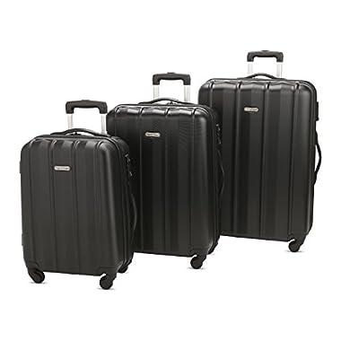 3 PC Luggage Set Durable Lightweight Hard Case Spinner Suitecase LUG3 SK541 BLACK