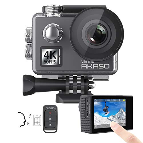 AKASO V50 Elite 4K60fps Touch Screen WiFi Action Camera Voice Control EIS Web Camera 131 feet Waterproof Camera Adjustable View Angle 8X Zoom Remote Control Sports Camera with Helmet Accessories Kit