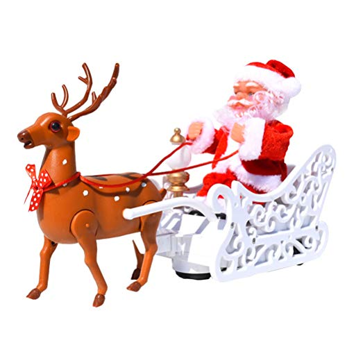 Kikier Santa Claus Toys, Electric Santa Claus Toys and Reindeer Dynamic Dancing Toys and Music Desktop Decorations for Kids Boys and Girls
