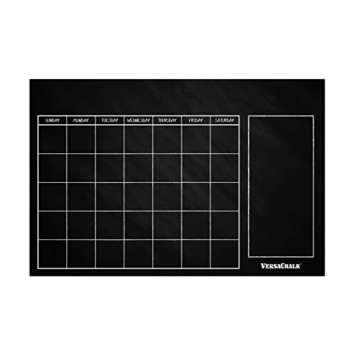 """Huge Dry Erase Chalkboard Calendar for Wall by VersaChalk (24 x 36"""" Classic Erasable calendar for wall) Rustic Black Chalkboard Wall calendar decal for Classroom, Chore chart for Kids"""