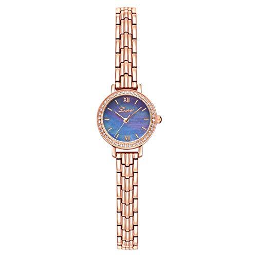 LVPAI Moda Simple dial con Incrustaciones de Diamantes de imitación Reloj de Acero Inoxidable Reloj de Cuarzo para Mujer-EVANA (Multicolor)