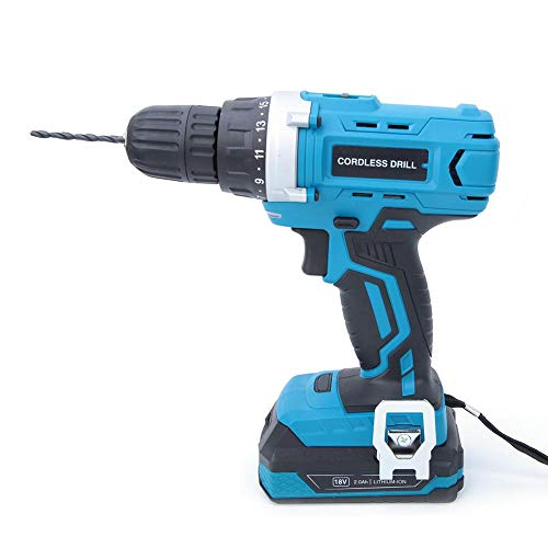 18V Cordless Drill Driver Kit, Electric LithiumCordless Drill Fast Charger 0-1,100 RPM Variable Speed Professional Handheld Tool US Plug 100-240V