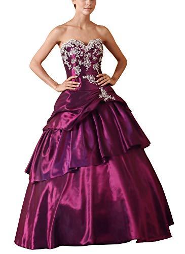 Romantic-Fashion Damen Ballkleid Abendkleid Lang Brautkleid Modell E615-E619 A-Linie TAFT Perlen Pailletten DE Lila Größe 54