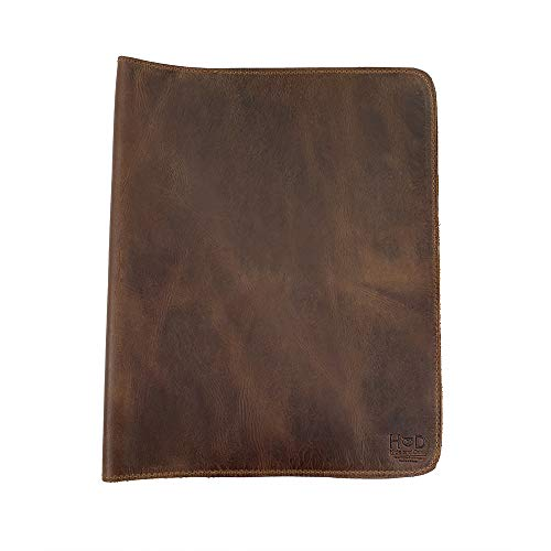 Hide & Drink, Rustic Leather Journal Cover (8.5 x 11 in.), Refillable Moleskine Cahier XXL, Handmade - Bourbon Brown