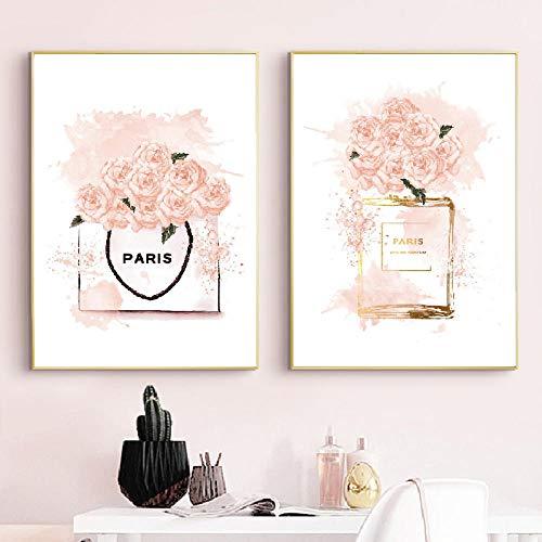 WXDQ Mode Parfüm Rosa Flasche Leinwand Malerei Blume Nordische Plakate Drucke Vogue Wandkunst Bilder Für Wohnzimmer Salon Dekor-50x70cmx2 Stück kein Rahmen