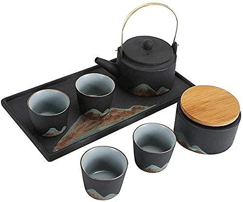 FHKBK Tetera de Hierro Fundido de Estilo japonés con infusor Juego de Tazas de té de Porcelana de cerámica Tetera de Estilo esmaltado con patrón de cerámica con Mango y Juego de Tazas Ad