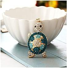 Metalen Sleutelhanger Kleur Diamant Schattige Schildpad Vorm Auto Hanger Cadeau blauw