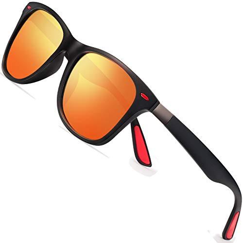 Polarisierte Sonnenbrillen Herren Vintage Stil Sonnenbrillen Damen-Sport im Freien Golf Radfahren Angeln Wandern FD2150 (orange, 60)