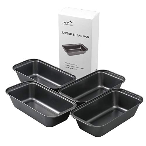 Arashill 4-Piece Set Loaf Bread Pans, Nonstick Carbon Steel Baking Bread Pans, DIY Cake Mold Toast Mold, For Homemade Cakes, Breads, Meatloaf and Quiche