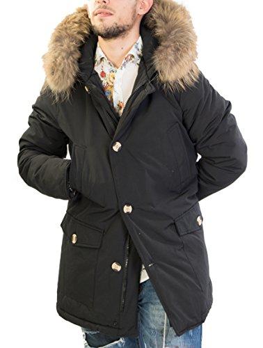 Antony Morale Giubbotto Parka Uomo Invernale con Pelliccia Vera Volpe Removibile 3 Colori Disponibili Copia Wool ARTIK Parka 7101 (M 48, Nero)
