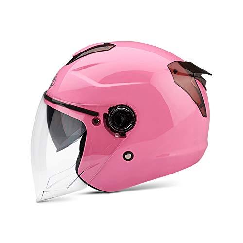 BOSEMAN Casco de Motocicleta con Visera, Adecuado para ciclomotores, Scooters, cruceros, Pase la Prueba de colisión para Cumplir con la Seguridad Vial(Rosa) ⭐