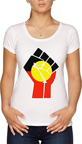 Elevado Puño - Aborigen Bandera Camiseta Mujer Blanco