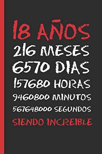 18 AÑOS SIENDO INCREIBLE: REGALO DE CUMPLEAÑOS ORIGINAL Y DIVERTIDO. DIARIO, CUADERNO DE NOTAS, APUNTES O AGENDA.