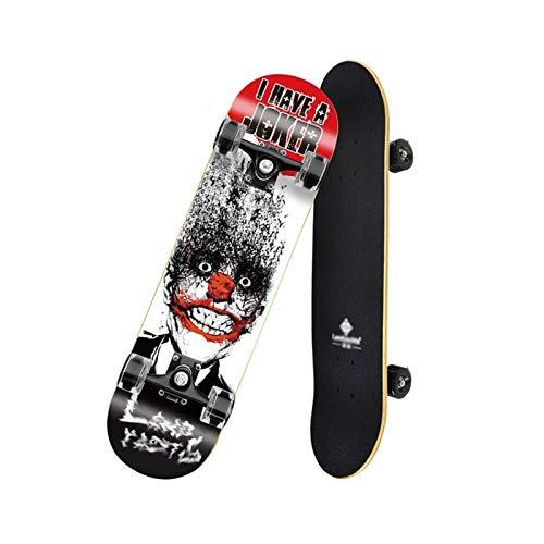 mrjg Longboard Profesional Four Wheel Skateboard Double Rocker Road Skate Niños Adultos 4 Ruedas Skateboard Scooter de Arce Profesional Adulto (Color : 1)