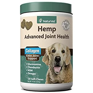 NaturVet Hemp Advanced Joint Health Dog Supplement Soft Chews –Helps Support Joint Health in Dogs – Includes Hemp Seed, Collagen, Glucosamine, MSM, Chondroitin, Omegas – 120 Ct.
