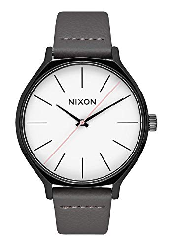 NIXON Clique Leather A1250-50 m resistente al agua reloj analógico clásico para mujer (esfera de reloj de 38 mm, correa de piel de 17 a 15 mm)
