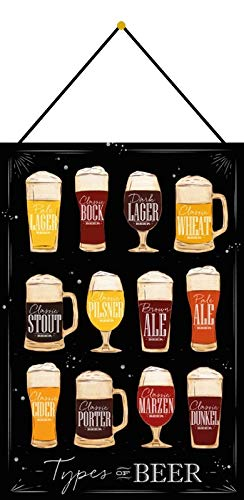 Metalen bord 20 x 30 cm gebogen met koord overzicht biersoorten donker magazijn stoot-porter beer decoratie geschenk bord