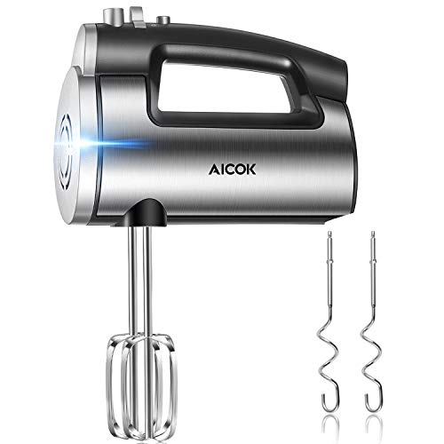 Hand Mixer 6-Speed Kitchen Hand Held Mixer, 300W Ultra Power Electric Mixer with Turbo Boost for Whipping Mixing Cookies, Brownies, Cakes, Dough Batters, Stainless Steel Body, One Button Eject Design