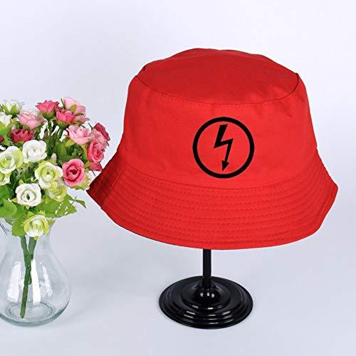 JIACHIHH Sombrero De Pescador Algodón,Impresión De Imágenes De Relámpagos Cuchara Sombrero Rojo De Verano Unisex Visor Hat Pescador Pesca Hat