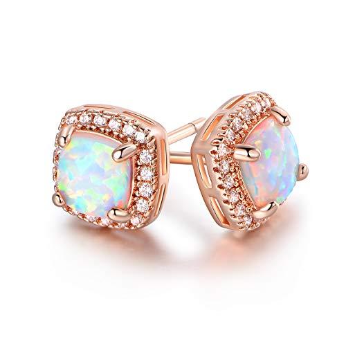 Barzel Rose Gold Plated Created Opal Stud Earrings (Rose Gold)