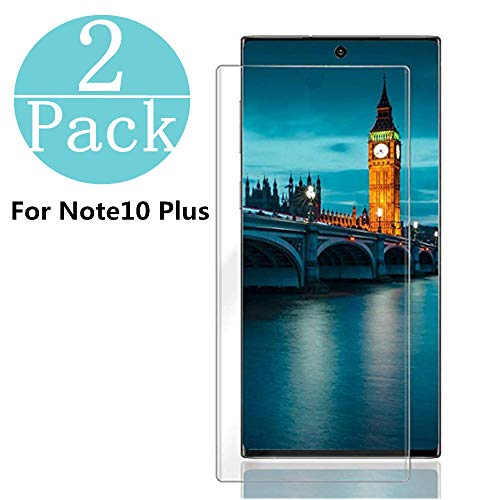 Samsung Galaxy Note 10 +/Note 10 Plus Tempered Glass Screen Protector, [2-Pack] Anti-Scratch, Bubble Free and Case Friendly, 3D Curved Edge Compatible Note 10 +/Note 10 Plus