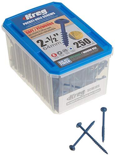 Kreg SML-C250B-250 Blue-Kote Tornillos Autorroscantes Para Ocultar Agujeros, Resistentes al clima, 2 1/2' (64 mm), Grueso #8, cabeza de arandela, 250 unidades