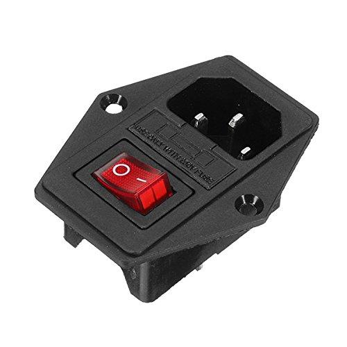 C-FUNN Interruptor De Encendido/Apagado Io con Enchufe Hembra para Cable De Fuente De Alimentación Jamma Máquina Arcade con Fusible