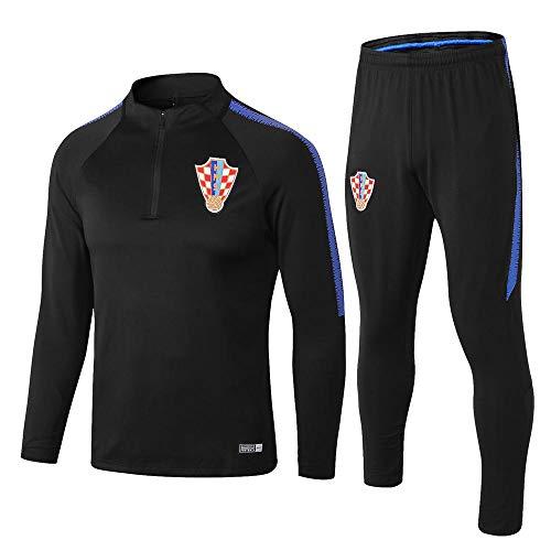 XunZhiYuan 18-19 kroatischen langärmeligen Trainingsanzug Set schwarz Aussehen Anzug Trikot Fußball Bekleidung Hosen Uniform @ Photo Color_XL