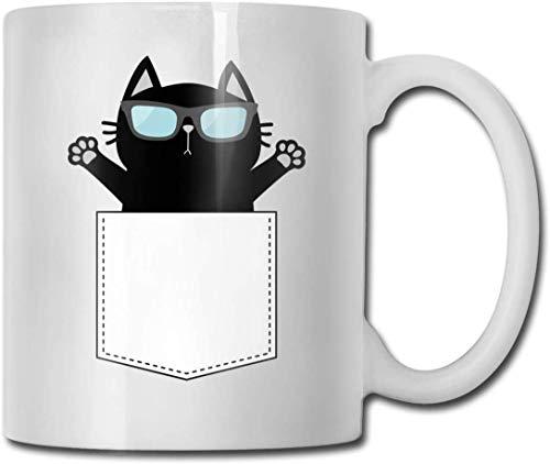 Nette schwarze Katze in der Tasche, die Sonnenbrille-lustige Kaffeetasse-niedliches Wasser-Tee-Schalen-Geburtstagsgeschenk für Frauen-Männer trägt