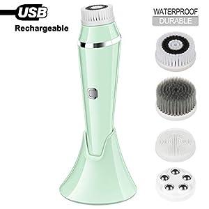 Cepillo facial giratorio eléctrico resistente al agua con 4 cabezales de cepillo, limpieza facial recargable por USB (verde)