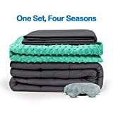 BUZIO Weighted Blanket 4 Piece Set with 2 Removable Duvet Covers...