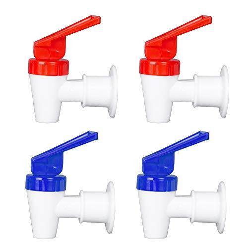 OHOH 4 Sets BPA-Free Replacement Cooler Faucet, 2 Blue and 2 Red Reusable Water Dispenser Tap Set, Internal Thread Plastic Spigot